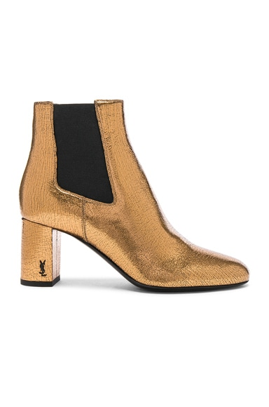 Cracked Metallic Leather Loulou Pin Boots