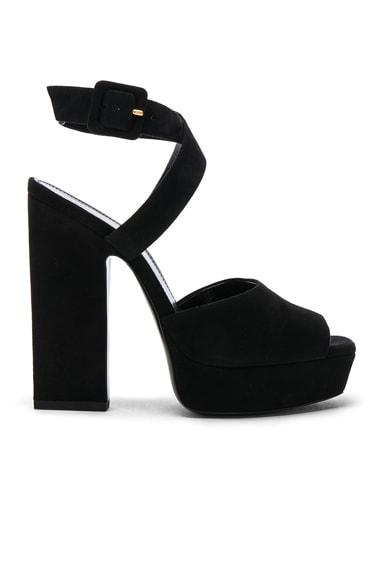 Suede Debbie Platform Cross Strap Sandals Saint Laurent