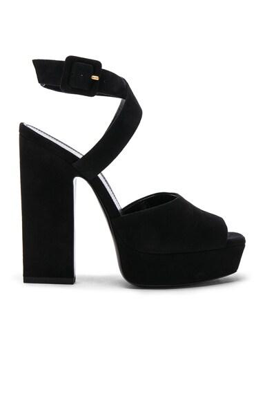 Suede Debbie Platform Cross Strap Sandals
