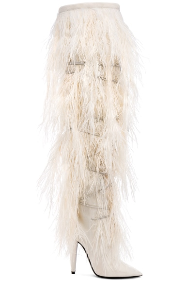 Era Feather Embellished Velvet Yeti Thigh High Boots