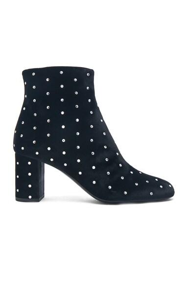 Crystal Embellished Velvet Loulou Pin Boots