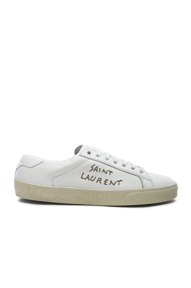 Leather Court Classic Metallic Embroidery Sneakers