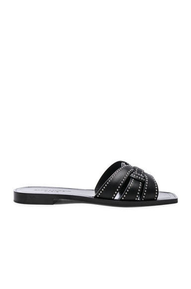 Leather Nu Pieds Studded Slides