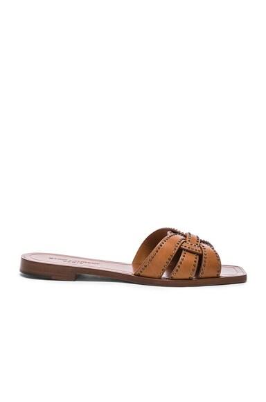 Studded Leather Nu Pieds Slides