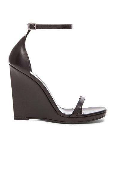 Saint Laurent Jane Leather Wedge Sandals in Black