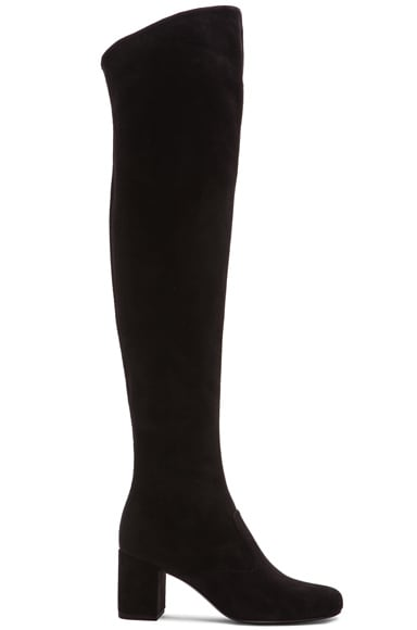 Saint Laurent Suede BB Thigh High Boots in Black