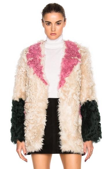 Sandy Liang Ermie Lamb Fur Coat in Neapolitan