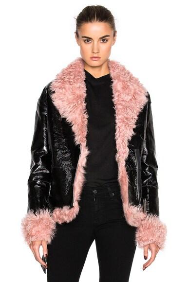 Sandy Liang Bowey Coat in Pink & Black