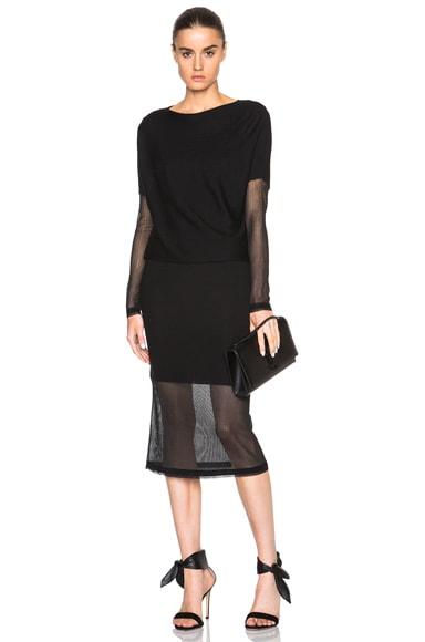 Sally Lapointe Silk Blend Ripped Drape Dress in Black