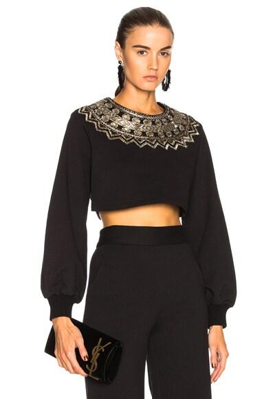 Cropped Metallic Embroidered Sweatshirt