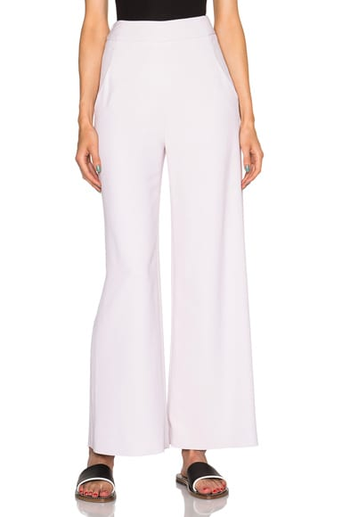Sally Lapointe Viscose Stretch Wide Leg Trousers in Petal