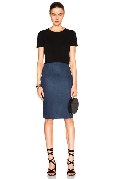 Enhancing Stretch Denim Pencil Skirt