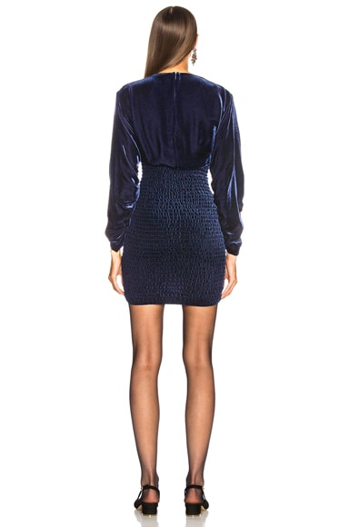 Pacey Shirring Embroidered Mini Dress
