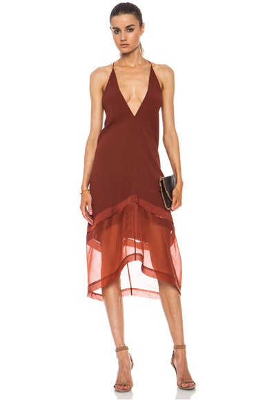 Stella McCartney V-Neck Acetate-Blend Cami Dress in Terracotta
