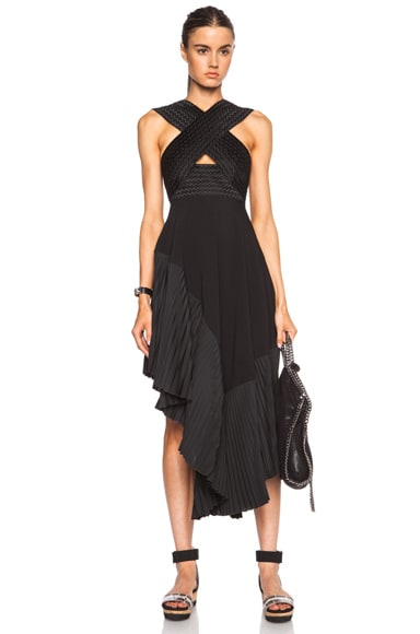 Stella McCartney Pleated Halter Viscose-Blend Dress in Black
