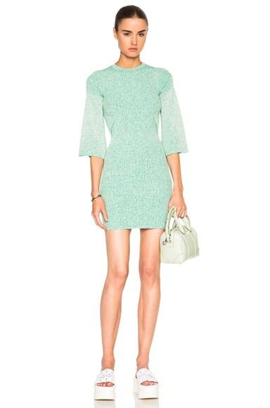 Stella McCartney Sculptural Ribs Dress in Ivory, Mist & Sprint Green