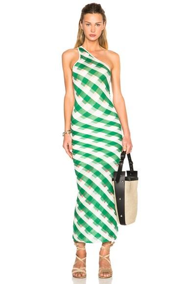 Stella McCartney One Shoulder Dress in Green