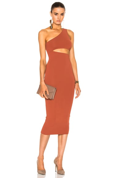 Stella McCartney One Shoulder Cut Out Dress in Terracotta