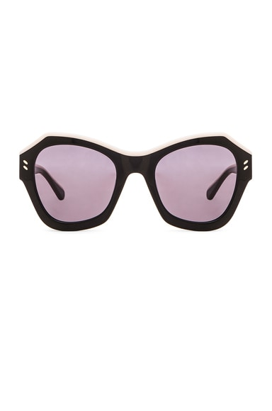 Stella McCartney Colorblock Sunglasses in Black & Ivory