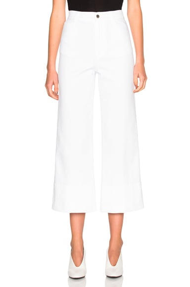 Stella McCartney High Waisted Crop Trousers in White