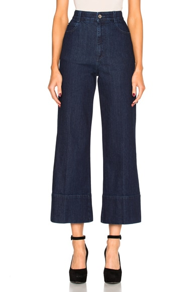 Stella McCartney High Waisted Crop Trousers in Dark Blue