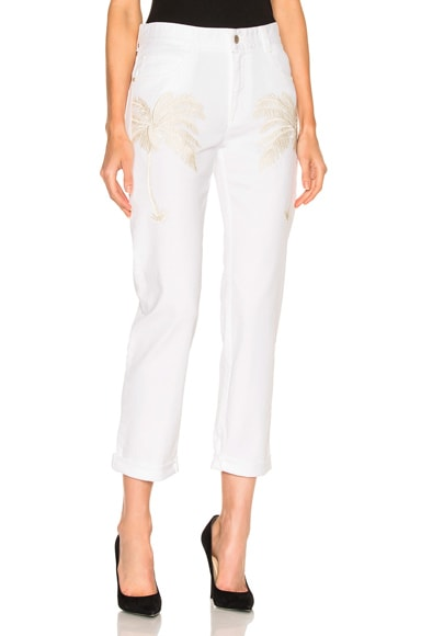 Stella McCartney Palm Tree Embroidered Boyfriend in Bianco