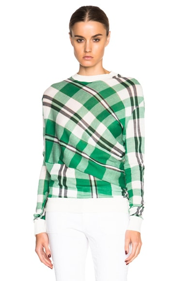 Stella McCartney Solid Check Sweater in Lily, Spring Green, & Navy