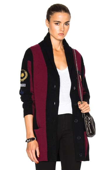 Stella McCartney Stripes Cardigan in Black & Jazzberry