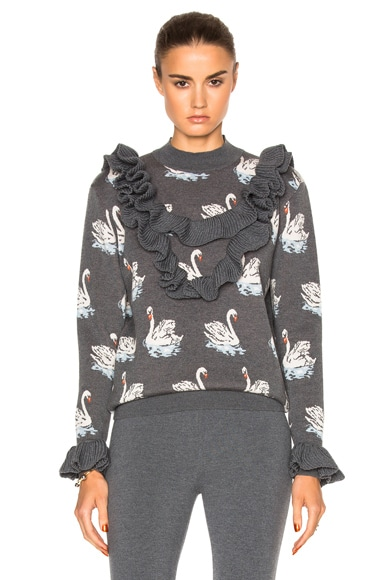 Stella McCartney Swan Jacquard Sweater in Granite