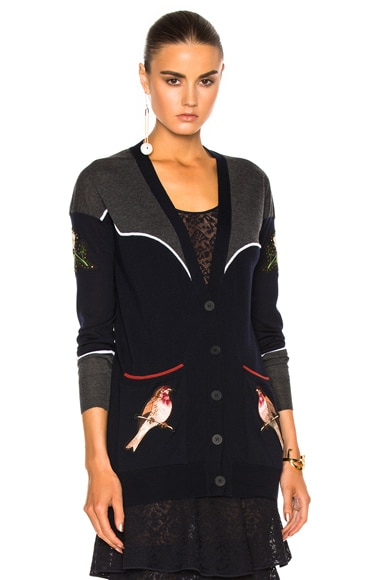 Stella McCartney Wool Cardigan in Charcoal & Ink
