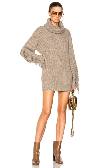 Fringe Sleeve Turtleneck Sweater