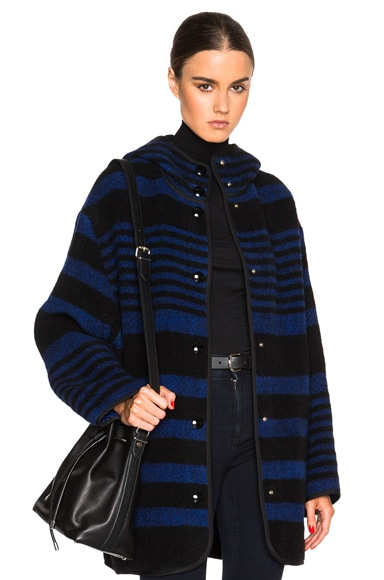 Stella McCartney Gene Blanket Melange Coat in Black & Bright
