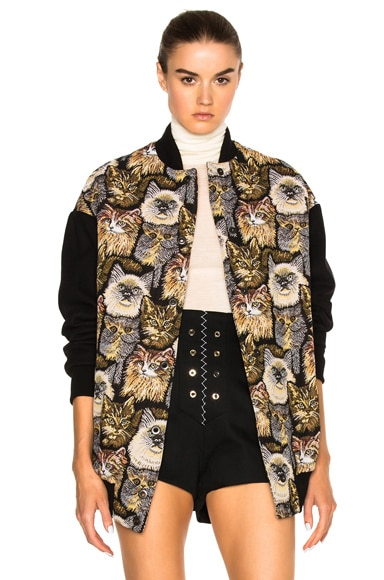 Cat Embroidered Bomber