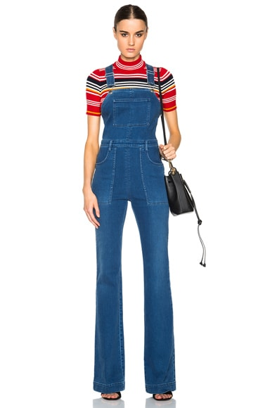 Stella McCartney Denim Dungarees in Pale Blue