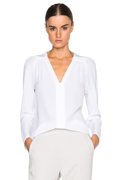 Stella McCartney Priska Silk Crepe Blouse in Pure White