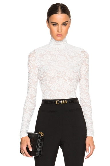 Stella McCartney Turtle Neck Lace Top in Pure White