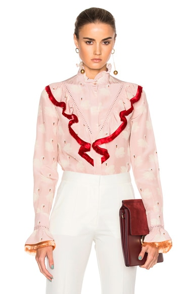 Stella McCartney Swan Print Shirt in Dusted Pink