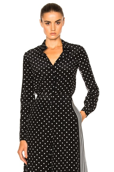 Stella McCartney Silk Polka Dot Blouse in Black