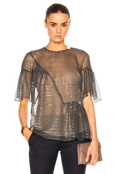 Stella McCartney Silk Lurex Top in Black