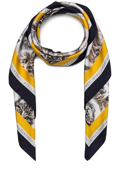 Stella McCartney Cat Print Scarf in Pure White
