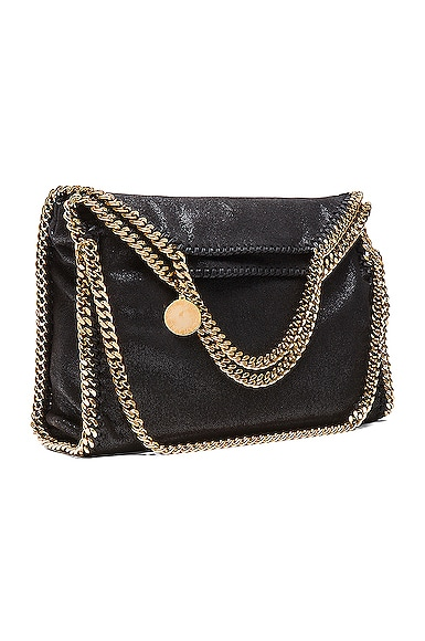 Stella McCartney Falabella Shaggy Deer Fold Over Tote in Black