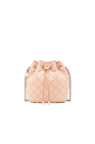Stella McCartney Studded Quilted Bucket Bag in Powder