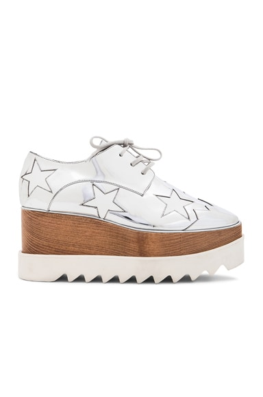 Stella McCartney Elyse Faux Leather Star Platforms in Silver