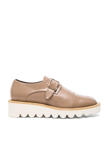 Stella McCartney Odette Faux Leather Monk Straps in Taupe