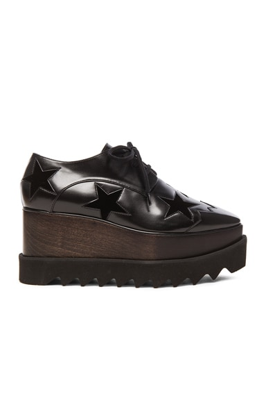 Stella McCartney Elyse Faux Leather Star Platform Wedges in Black