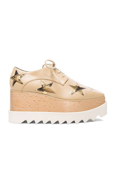 Stella McCartney Elyse Faux Leather Star Platform Wedges in Nude