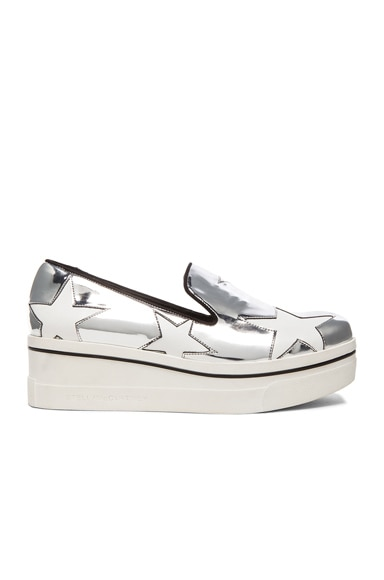 Stella McCartney Binx Star Platform Shoes in Indium, Black & White