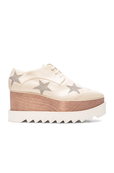 Stella McCartney Elyse Star Platform Shoes in Ecru & Osmium