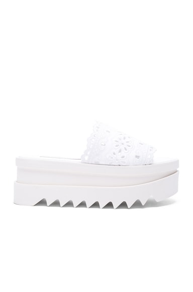 Stella McCartney Slide Lace Platform Sandals in White