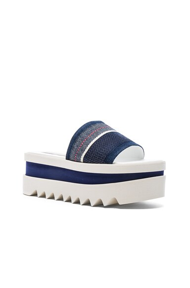 Denim Platform Slide Sandals
